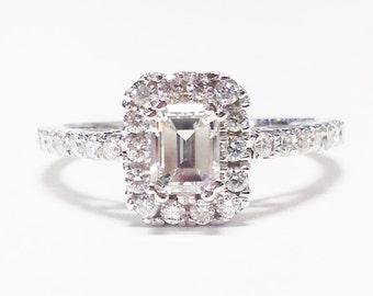 1.00CT Diamond Emerald Cut Halo Engagement Ring Anniversary Band Wedding Bands Rings Diamonds Platinum, 18K, 14K White, Yellow, Rose Gold