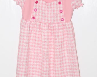 Pretty Pink and White Gingham Dress in Size 4T