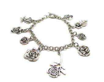 Rose Bracelet, Rose Charm Bracelet, Rose Jewelry, Rose Lover Bracelet, Flower Lover Bracelet, Silver Roses Bracelet, Flower Charm Bracelet