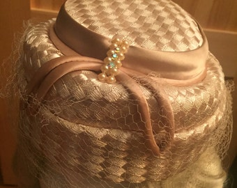 Vintage 1960s Woven Pillbox Hat with Veil - Perfect for Weddings or Church