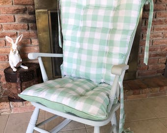 Mint Buffalo Plaid Rocking Chair Pads, Wooden Rocker Cushions, Glider Replacement Cover, Nursery Decor