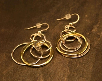 Forged Circle Dangle Earring- Sterling and Bronze