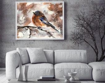 Bird Print, Robin bird, watercolor print, bird illustration, bird wall art, watercolor painting art