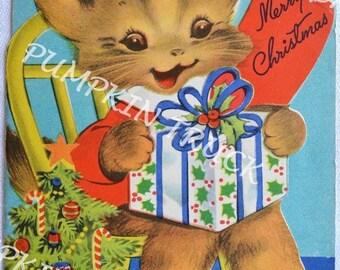 Vintage Christmas Card - Merry Christmas Kitten - Used