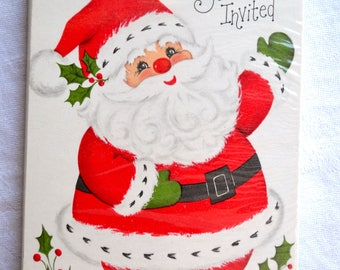 Vintage Christmas Party Invitations - Hallmark Santa Claus - 8