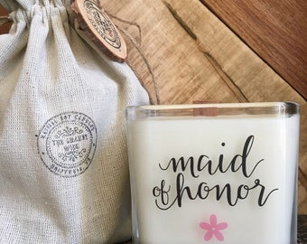 New Maid Of Honor Candle / Maid Of Honor Gift /Maid of Honor Proposal Candle / Maid Of Honor Sister Gift / Personalized Gift / Gold