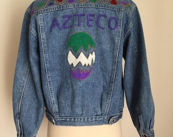 Vintage Denim Jean Jacket / Aztec embroidery / size xsmall small