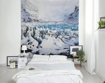 Glacier Tapestry, Iceland Art, Scandinavian Decor, Blue Tapestries, Icelandic Landscape, Wall Hanging