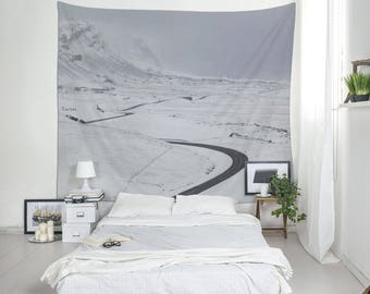 Wall Hangings, Winter Landscape, Winter Road, White Tapestry, Minimalist Tapestry, Iceland Photography, Tapestry For Guys, Cool Wall Art