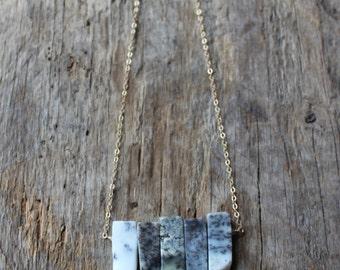 Dendritic Opal Stone Bib Necklace- Gold