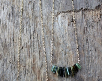 Raw Green Tourmaline and Brass Fringe Necklace