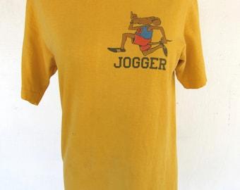 Vintage 70s Rat Race Jogger Graphic T Shirt Size Small S Medium M