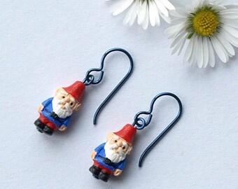 gnome earrings, garden gnome earrings, handmade garden gnome earrings, GARDEN GNOME, hypoallergenic niobium earwires