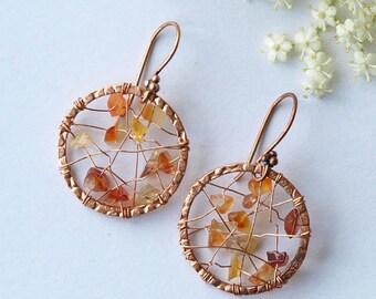 copper earrings, copper earrings carnelian, copper earrings  web, COPPER WEB, copper earwires (can be exchanged for niobium)