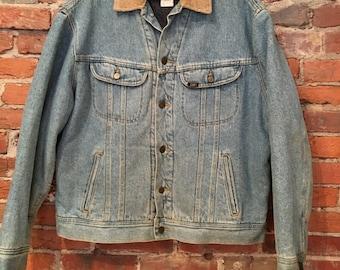 Vintage Lee Storm Rider Blanket Lined Denim Jacket with Corduroy Collar Medium/Large