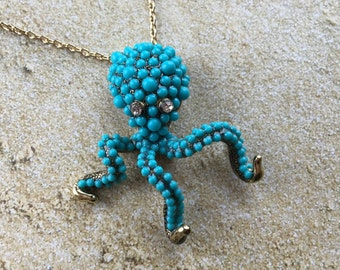 Octopus Pendant Necklace, Octopus, Statement Necklace, Gifts for Her, Pendant, Necklace, Rhinestones