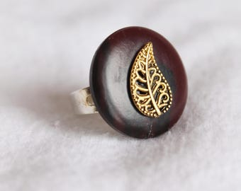 Adjustable Ring, Gold Leaf, Red Button