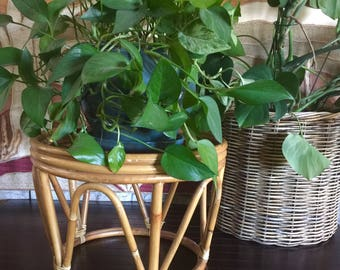 Indoor Plant Stand Bamboo Rattan Plant Stand Ottoman Side Table Wood Footstool Boho Rustic Wood Plant Stand Modern Bohemian Natural Decor