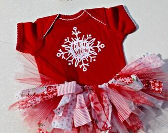 Baby Girl Christmas Outfit - Baby Christmas Tutu - Let It Snow - Baby Christmas Bodysuit - Christmas Photo Props - Baby Christmas Headband