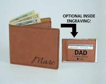 Personalized Wallet, Leather Engraved Wallet, Men's Wallet Gift, Unique Bi Fold Wallet, Custom Wallet, Father's Day Wallet, Monogram Wallet