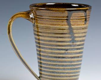 Tall Stoneware Hand Thrown Mug for Coffee, Latte, Tea, Beer,  Celedon Green, Blue, Tan. 16 oz cap. Hand Thrown, Hand Pulled Handle!