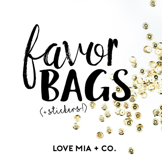 Favor Bags | Gift Packaging for Hair Tie Favors, Wedding Bridal Shower Favors, Birthday Party Favors, Small Gift Bags, Bridesmaid Gift Bags