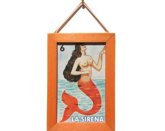 La Sirena Picture, Mermaid Magnet, Loteria, Home Decor, Office Gift, Thank You Gift, Small Gift, Gift For Him, Gift For Her, Fridge Magnet