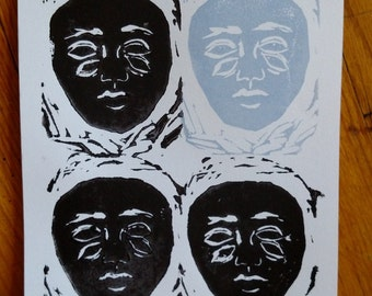 Double Vision x4 - Handmade Linocut Print - Limited Edition