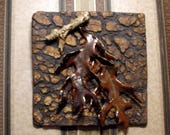 "Wall Hanging - Ceramic Tile - 8"" x 8"" in. Ceramic Wall Sculpture - Fall Forest - Handmade Pottery Stoneware"