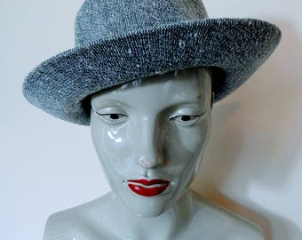 Kangol Design Original Vintage 1990s Grey & White Tweed Trilby Fedora Hat Size S/M