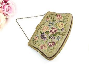 Vintage Estate Petit Pointe Purse, Petit Pointe Bag, Victorian Vintage Purse, Vintage Hand Bag #A914