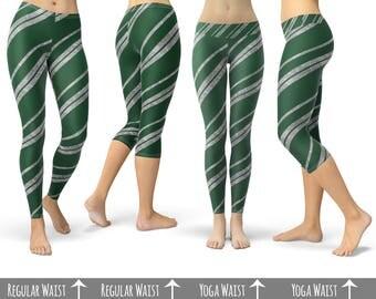Slytherin House Stripes Harry Potter - Capri or Full Length, Sports   Yoga   Fleece Leggings in XS-3XL 000936