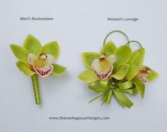 Corsage OR Boutonniere, light green, lime/kiwi/apple, green, orchid/orchids, cymbidium, Real Touch flowers, silk, prom/wedding, tropical