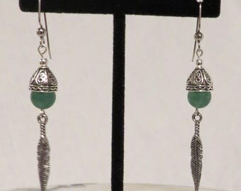 Aventurine and Silver Plated Feather Earrings