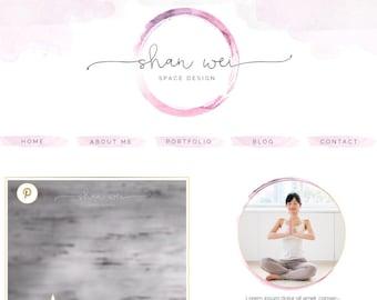 Blog Kit Graphics, Website Kit Design, Social Icons, Blog Header Design, Website Header, Watercolor Logo Design, Yoga, Enso, Zen, Circle