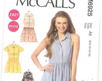 McCall's 6925 Size 6, 8, 10, 12, 14 Women's top, tunic or dress pattern: Princess seam top, sleeveless or short sleeve, hi-lo hem, collar