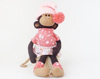 Stuffed monkey, animal toy, fabric doll, baby shower gift, nursery decor, kids toys, handmade, plush monkey, toy for girl