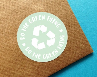 Recycle Sticker, Happy Mail Sticker, Green Recycling Label, Recycling Symbol Sticker, Packaging Sticker, Recycle Symbol Sticker, Happy Mail