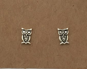 Sterling Silver Owl Stud Earrings   Stud Earrings   Sterling Silver   Bird Earrings   Animal Earrings   Bird Jewelry   Kids Earrings  