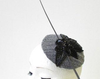 Black Dark Silver Grey Statement Quill Fascinator Races Ascot Hat Headpiece 1611