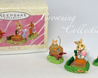 1997 Hallmark Bumper Crops Spring Garden Ornament Easter Bunny Gardening Tender Touches Ed Seal Set of 3 Vintage Keepsake
