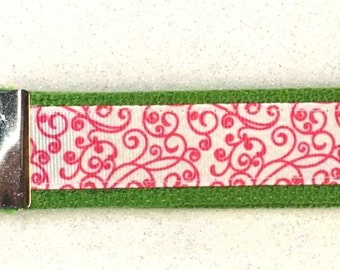 Key Fob Wristlets...CHOOSE COLOR! Pink Swirls with YOUR Color Choice of Webbing (Backing)