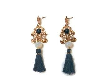 Long Gold Earrings, Antique Gold Earrings, Long Statement Earrings, Gold Statement Earrings, Vintage Gold Earrings, Vintage Earrings