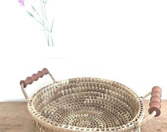 Vintage Basket with Wooden Handles / Woven Basket