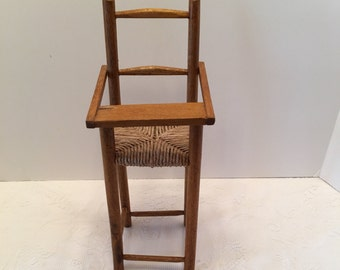 Wood and Wicker Doll Highchair ~ Rush Seat ~ Vintage