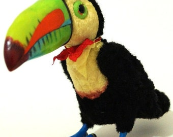 Carnival the rainbowbilled toucan,  6.6 inches (17 centimeters), author collectible toy. Vintage plush of four color.