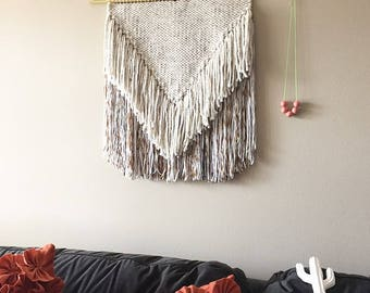 large weaving, large woven wall hanging, woven wall decor, yarn wall hanging, macrame wall hanging, woven tapestry, wall weaving, weaving