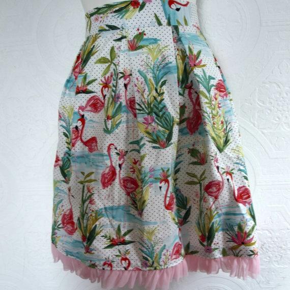 It Girl : High Waist Pleated Flamingo Skirt