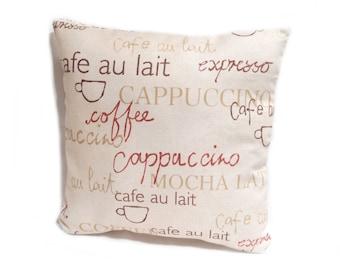 Coffee Script Cushion Cover, Pillow Case,  throw pillow, coffee print Cushion Cover