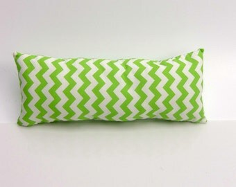 Small Kid's Pillow, Camping/Travel, Cotton Pillow, Green Chevron, Sour Apple Green, Complete Pillow